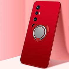 Coque Ultra Fine Silicone Souple Housse Etui avec Support Bague Anneau Aimante Magnetique A01 pour Xiaomi Mi 10 Ultra Rouge