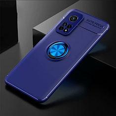 Coque Ultra Fine Silicone Souple Housse Etui avec Support Bague Anneau Aimante Magnetique A01 pour Xiaomi Mi 10T Pro 5G Bleu