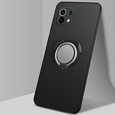 Coque Ultra Fine Silicone Souple Housse Etui avec Support Bague Anneau Aimante Magnetique A01 pour Xiaomi Mi 11 5G Noir