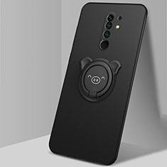Coque Ultra Fine Silicone Souple Housse Etui avec Support Bague Anneau Aimante Magnetique A01 pour Xiaomi Redmi 9 Noir