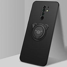 Coque Ultra Fine Silicone Souple Housse Etui avec Support Bague Anneau Aimante Magnetique A01 pour Xiaomi Redmi 9 Prime India Noir