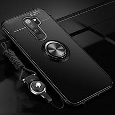 Coque Ultra Fine Silicone Souple Housse Etui avec Support Bague Anneau Aimante Magnetique A01 pour Xiaomi Redmi Note 8 Pro Noir