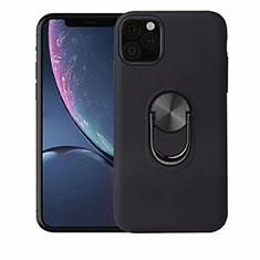 Coque Ultra Fine Silicone Souple Housse Etui avec Support Bague Anneau Aimante Magnetique A02 pour Apple iPhone 11 Pro Noir