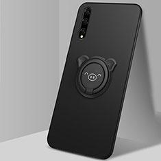 Coque Ultra Fine Silicone Souple Housse Etui avec Support Bague Anneau Aimante Magnetique A02 pour Huawei Enjoy 10S Noir