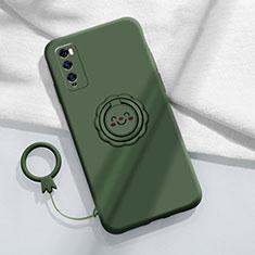 Coque Ultra Fine Silicone Souple Housse Etui avec Support Bague Anneau Aimante Magnetique A02 pour Huawei Enjoy 20 Pro 5G Vert
