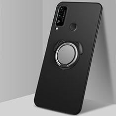 Coque Ultra Fine Silicone Souple Housse Etui avec Support Bague Anneau Aimante Magnetique A02 pour Huawei Honor Play4T Noir