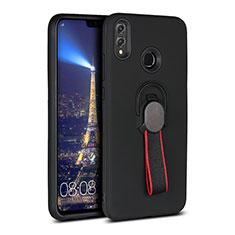 Coque Ultra Fine Silicone Souple Housse Etui avec Support Bague Anneau Aimante Magnetique A02 pour Huawei Honor V10 Lite Noir