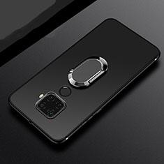 Coque Ultra Fine Silicone Souple Housse Etui avec Support Bague Anneau Aimante Magnetique A02 pour Huawei Mate 30 Lite Noir