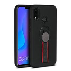 Coque Ultra Fine Silicone Souple Housse Etui avec Support Bague Anneau Aimante Magnetique A02 pour Huawei P20 Lite Noir