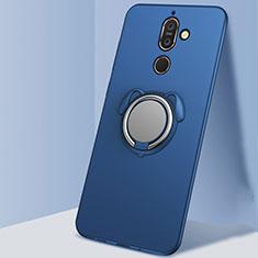 Coque Ultra Fine Silicone Souple Housse Etui avec Support Bague Anneau Aimante Magnetique A02 pour Nokia 7 Plus Bleu