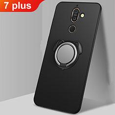 Coque Ultra Fine Silicone Souple Housse Etui avec Support Bague Anneau Aimante Magnetique A02 pour Nokia 7 Plus Noir