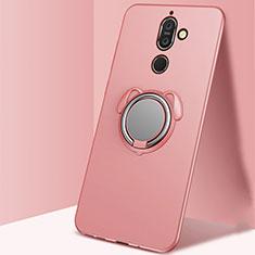 Coque Ultra Fine Silicone Souple Housse Etui avec Support Bague Anneau Aimante Magnetique A02 pour Nokia 7 Plus Or Rose