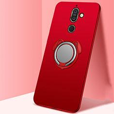 Coque Ultra Fine Silicone Souple Housse Etui avec Support Bague Anneau Aimante Magnetique A02 pour Nokia 7 Plus Rouge