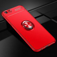 Coque Ultra Fine Silicone Souple Housse Etui avec Support Bague Anneau Aimante Magnetique A02 pour Oppo A3 Rouge