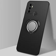 Coque Ultra Fine Silicone Souple Housse Etui avec Support Bague Anneau Aimante Magnetique A02 pour Oppo A33 Noir