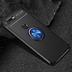 Coque Ultra Fine Silicone Souple Housse Etui avec Support Bague Anneau Aimante Magnetique A02 pour Oppo A7 Bleu et Noir