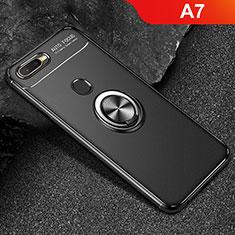 Coque Ultra Fine Silicone Souple Housse Etui avec Support Bague Anneau Aimante Magnetique A02 pour Oppo A7 Noir