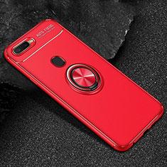 Coque Ultra Fine Silicone Souple Housse Etui avec Support Bague Anneau Aimante Magnetique A02 pour Oppo A7 Rouge