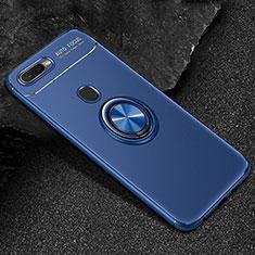 Coque Ultra Fine Silicone Souple Housse Etui avec Support Bague Anneau Aimante Magnetique A02 pour Oppo AX7 Bleu