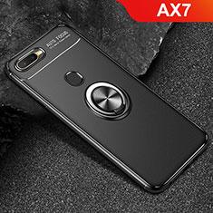 Coque Ultra Fine Silicone Souple Housse Etui avec Support Bague Anneau Aimante Magnetique A02 pour Oppo AX7 Noir