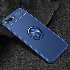 Coque Ultra Fine Silicone Souple Housse Etui avec Support Bague Anneau Aimante Magnetique A02 pour Oppo K1 Bleu