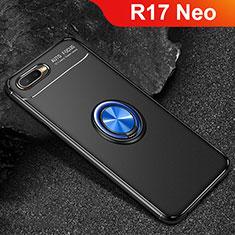 Coque Ultra Fine Silicone Souple Housse Etui avec Support Bague Anneau Aimante Magnetique A02 pour Oppo R17 Neo Bleu et Noir