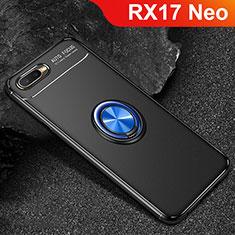 Coque Ultra Fine Silicone Souple Housse Etui avec Support Bague Anneau Aimante Magnetique A02 pour Oppo RX17 Neo Bleu et Noir
