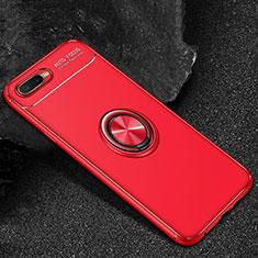 Coque Ultra Fine Silicone Souple Housse Etui avec Support Bague Anneau Aimante Magnetique A02 pour Oppo RX17 Neo Rouge