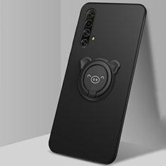 Coque Ultra Fine Silicone Souple Housse Etui avec Support Bague Anneau Aimante Magnetique A02 pour Realme X50m 5G Noir
