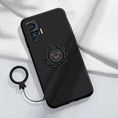 Coque Ultra Fine Silicone Souple Housse Etui avec Support Bague Anneau Aimante Magnetique A02 pour Vivo X50 Pro 5G Noir