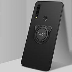 Coque Ultra Fine Silicone Souple Housse Etui avec Support Bague Anneau Aimante Magnetique A03 pour Huawei Enjoy 10 Plus Noir