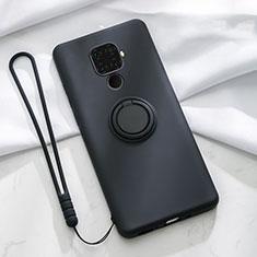 Coque Ultra Fine Silicone Souple Housse Etui avec Support Bague Anneau Aimante Magnetique A03 pour Huawei Mate 30 Lite Noir