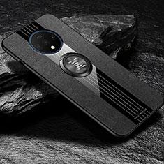 Coque Ultra Fine Silicone Souple Housse Etui avec Support Bague Anneau Aimante Magnetique A03 pour OnePlus 7T Noir