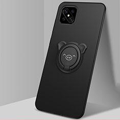 Coque Ultra Fine Silicone Souple Housse Etui avec Support Bague Anneau Aimante Magnetique A03 pour Oppo Reno4 Z 5G Noir