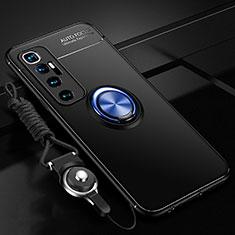 Coque Ultra Fine Silicone Souple Housse Etui avec Support Bague Anneau Aimante Magnetique A04 pour Xiaomi Mi 10 Ultra Bleu et Noir