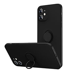 Coque Ultra Fine Silicone Souple Housse Etui avec Support Bague Anneau Aimante Magnetique N01 pour Apple iPhone 12 Mini Noir