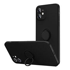 Coque Ultra Fine Silicone Souple Housse Etui avec Support Bague Anneau Aimante Magnetique N01 pour Apple iPhone 12 Noir