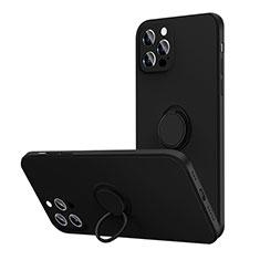Coque Ultra Fine Silicone Souple Housse Etui avec Support Bague Anneau Aimante Magnetique N01 pour Apple iPhone 12 Pro Max Noir