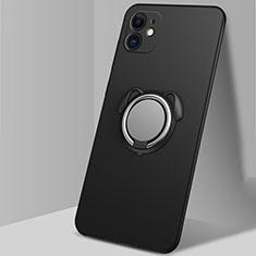 Coque Ultra Fine Silicone Souple Housse Etui avec Support Bague Anneau Aimante Magnetique N02 pour Apple iPhone 12 Noir