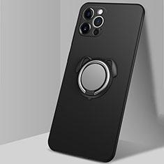 Coque Ultra Fine Silicone Souple Housse Etui avec Support Bague Anneau Aimante Magnetique N02 pour Apple iPhone 12 Pro Noir