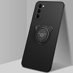 Coque Ultra Fine Silicone Souple Housse Etui avec Support Bague Anneau Aimante Magnetique N02 pour Samsung Galaxy Note 20 5G Noir