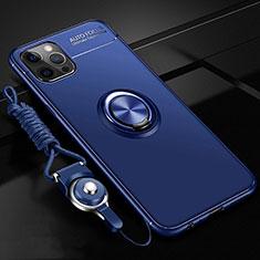 Coque Ultra Fine Silicone Souple Housse Etui avec Support Bague Anneau Aimante Magnetique N03 pour Apple iPhone 12 Pro Bleu