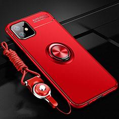 Coque Ultra Fine Silicone Souple Housse Etui avec Support Bague Anneau Aimante Magnetique N03 pour Apple iPhone 12 Rouge