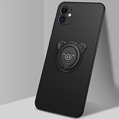 Coque Ultra Fine Silicone Souple Housse Etui avec Support Bague Anneau Aimante Magnetique N04 pour Apple iPhone 12 Noir