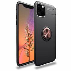 Coque Ultra Fine Silicone Souple Housse Etui avec Support Bague Anneau Aimante Magnetique pour Apple iPhone 11 Pro Max Or et Noir