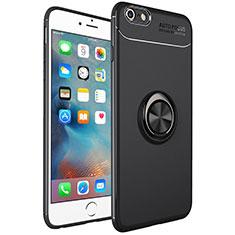 Coque Ultra Fine Silicone Souple Housse Etui avec Support Bague Anneau Aimante Magnetique pour Apple iPhone 6S Plus Noir