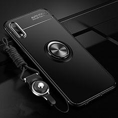 Coque Ultra Fine Silicone Souple Housse Etui avec Support Bague Anneau Aimante Magnetique pour Huawei Enjoy 10 Noir