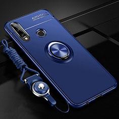 Coque Ultra Fine Silicone Souple Housse Etui avec Support Bague Anneau Aimante Magnetique pour Huawei Enjoy 10 Plus Bleu