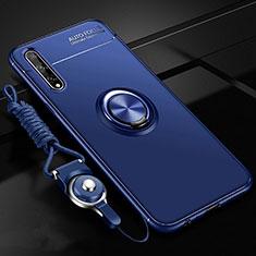Coque Ultra Fine Silicone Souple Housse Etui avec Support Bague Anneau Aimante Magnetique pour Huawei Enjoy 10S Bleu