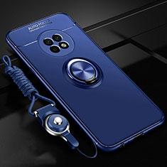 Coque Ultra Fine Silicone Souple Housse Etui avec Support Bague Anneau Aimante Magnetique pour Huawei Enjoy 20 Plus 5G Bleu